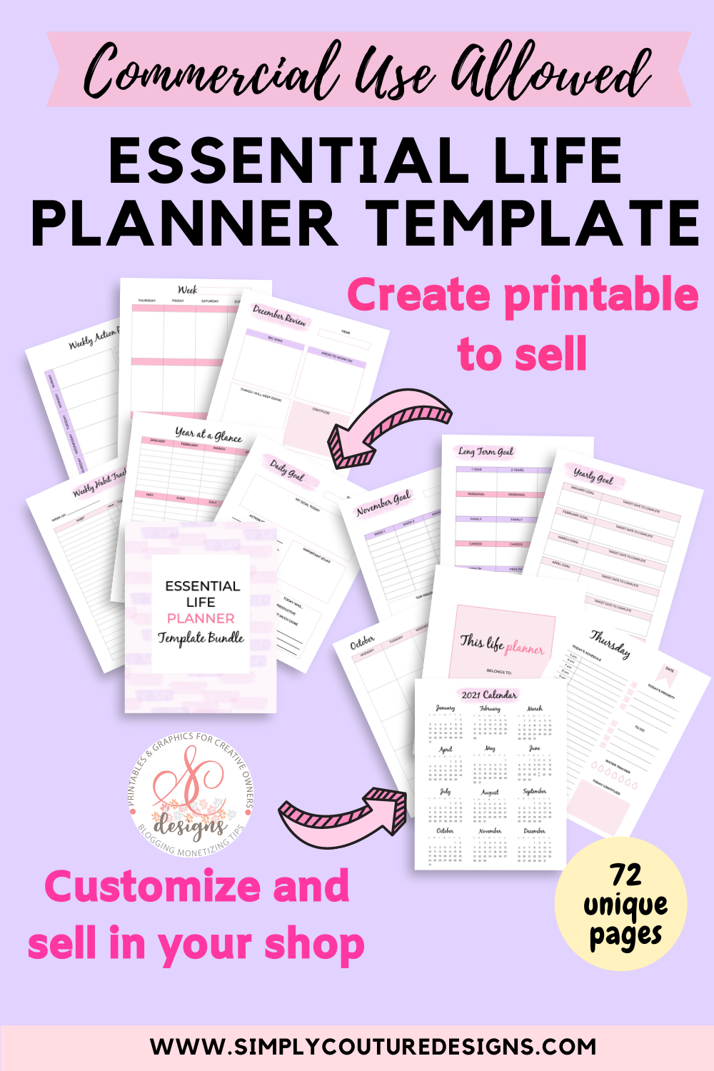 Essential Life Planner Template to create printables to sell
