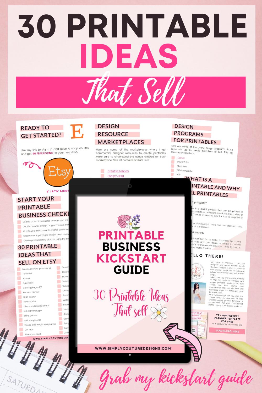 30 printable ideas that sell plus printable business kickstart guide