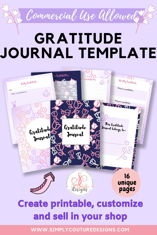 Gratitude Journal templates to create printable journal to sell